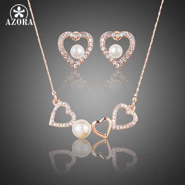AZORA romantique couleur or Rose Stellux cristal autrichien perle coeur boucles d'oreilles et pendentif collier ensemble de bijoux TG0189