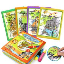 Kids Animals Painting Magic Water Drawing Book with 2 Water Pen Children Doodle Painting Coloring Book Baby Educational Toys
