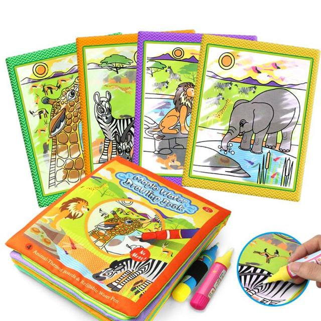 Kids animals painting magic water drawing book with 2 water pen children doodle painting coloring book