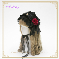 Lolita Bow Headdress Bead Chain Gothic Headwear Pendant Lolita Lace Headband Vintage Cosplay Flowers Rose Hair Clip Veil