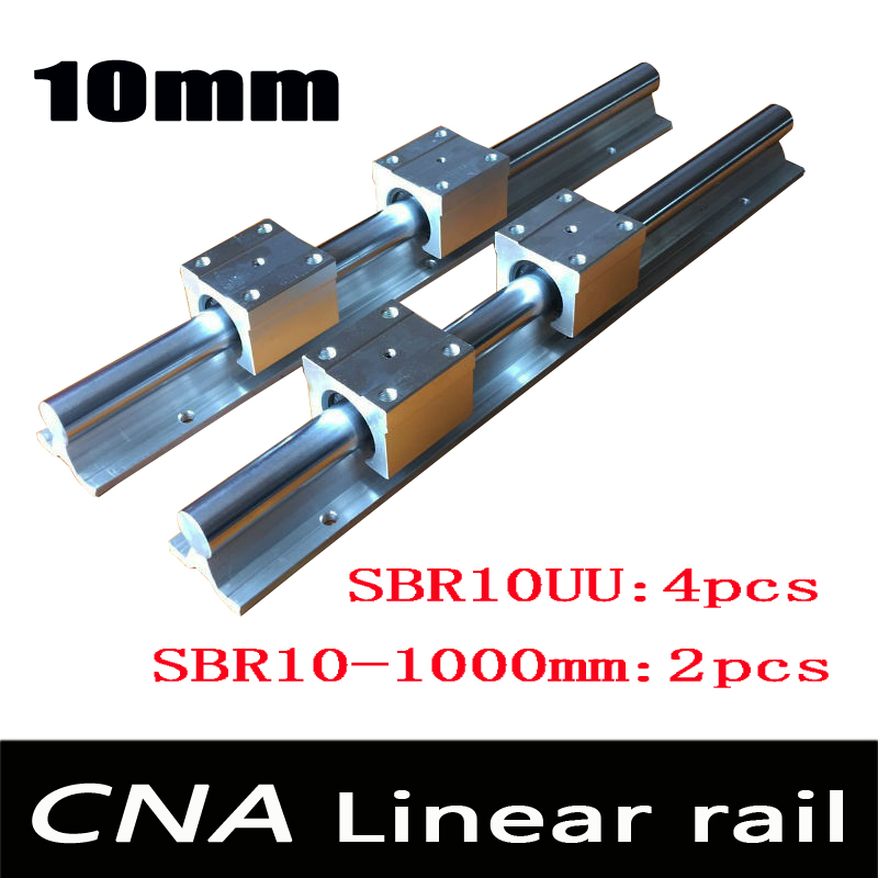 2pcs SBR10 L 1000mm linear rail support with 4pcs SBR10UU linear guide auminum bearing sliding block cnc parts 2pcs sbr10 1200mm linear guide 4pcs sbr10uu block for cnc parts