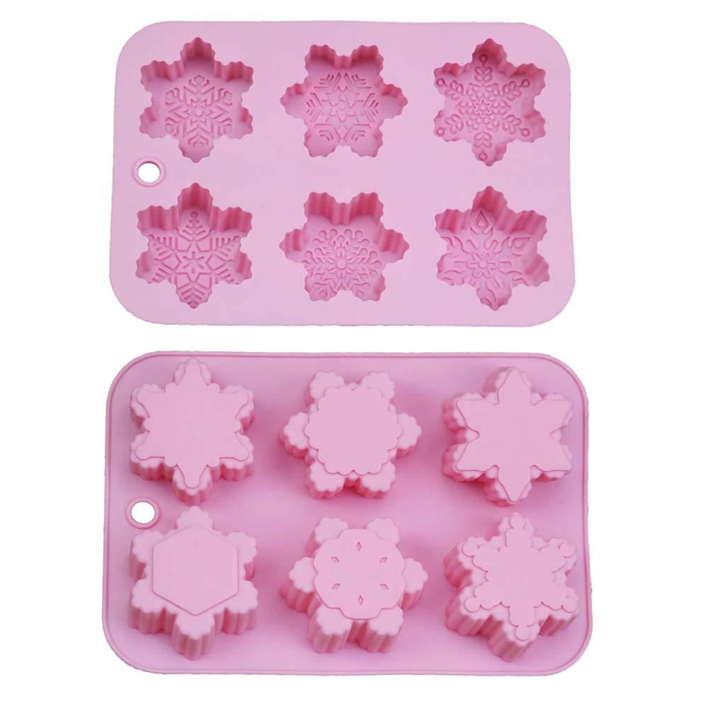 6-Piece Different Christmas Snowflake Oriental Cherry Shape Silicone Cake Mold DIY Handmade Soap Making Clay Craft Tool #BO