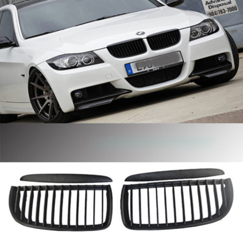 2 Pieces SET Kidney Grilles Grill For BMW 05to08 Sedan E90 E91 320i 335i Black Kidney Grilles for Modification Car Styling