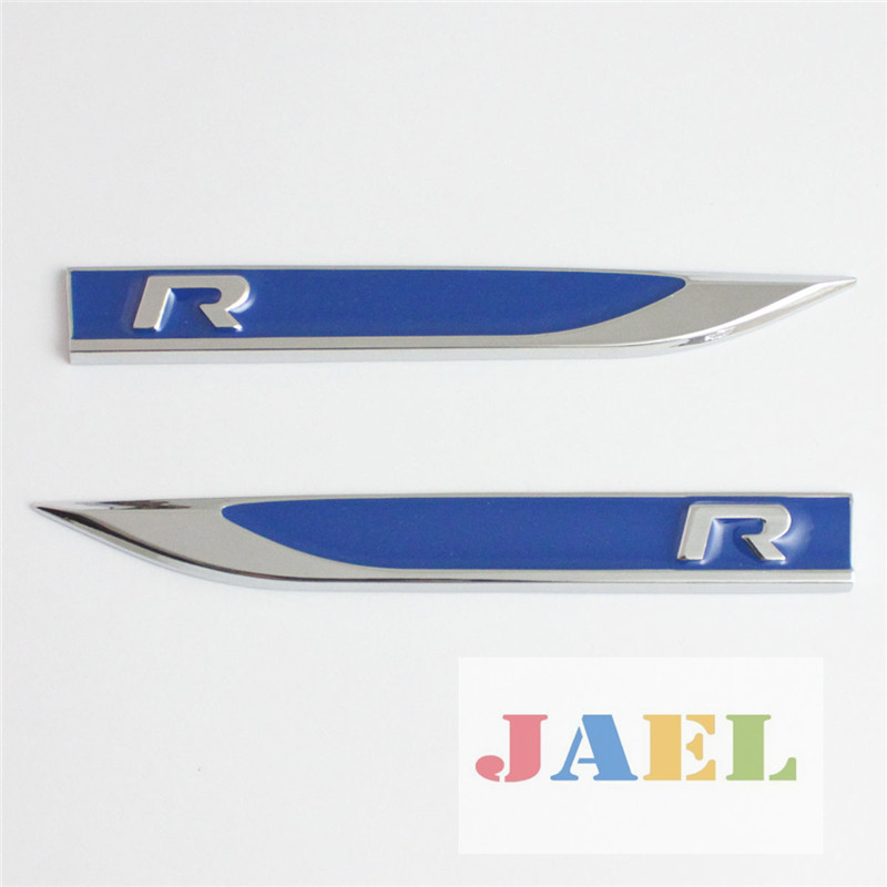 Car 2pcs blue metal r side wing emblem decal badge sticker vw mk7 golf 7 on aliexpress com alibaba group