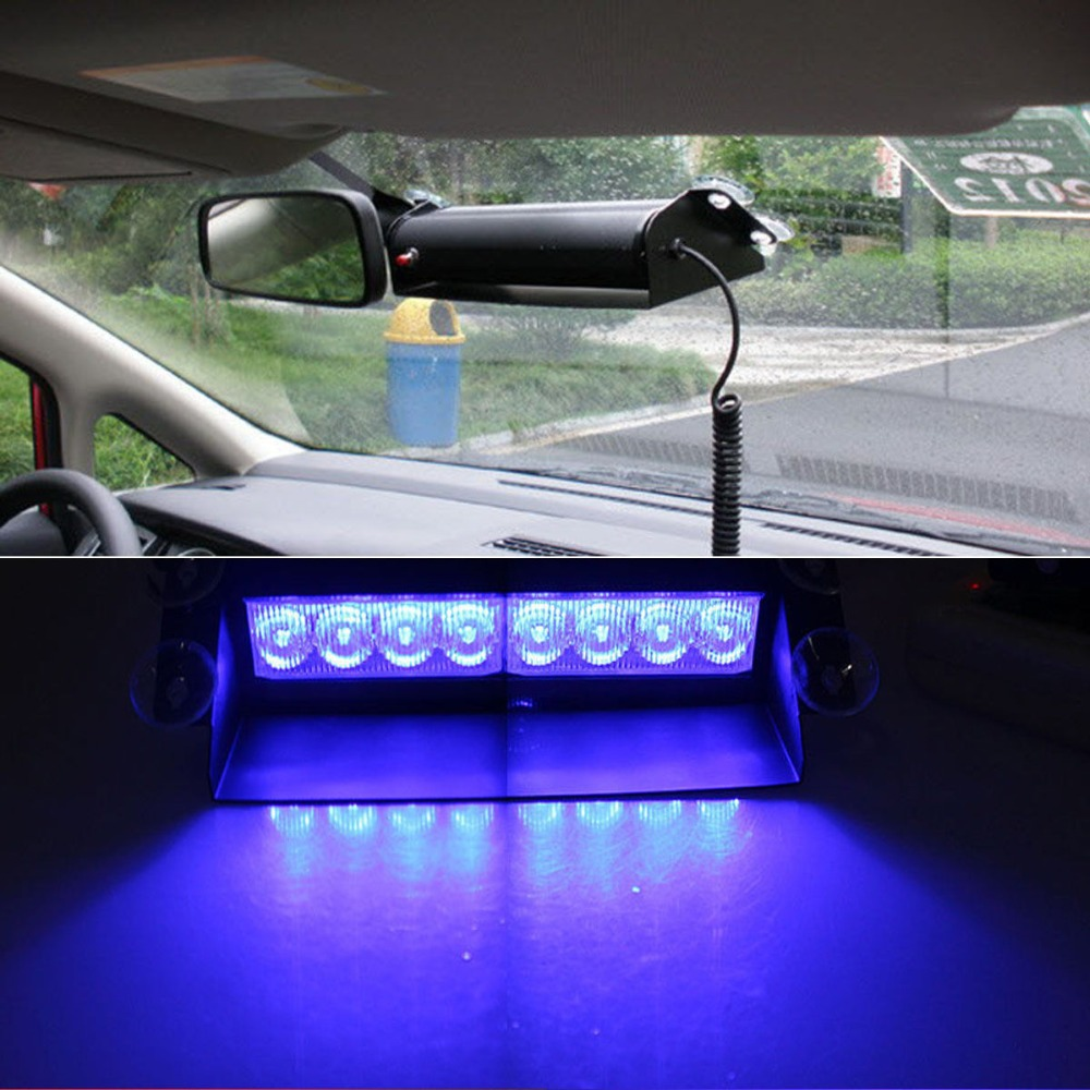 Blue 8led Car Dash Strobe Lights Flash Emergency Warning