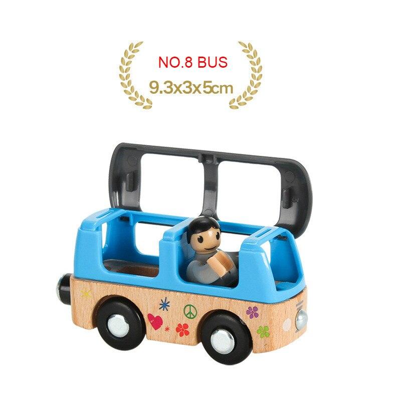 EDWONE деревянный магнитный Поезд Самолет деревянная железная дорога вертолет автомобиль грузовик аксессуары игрушка для детей подходит Дерево Biro треки подарки - Цвет: NO.8 BUS