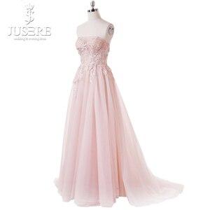 Image 2 - Bez ramiączek Illusion gorset wykwintne gorset trufli wzór kwiat koronki Lace up powrót z regulacją światła różowa suknia wieczorowa 2018