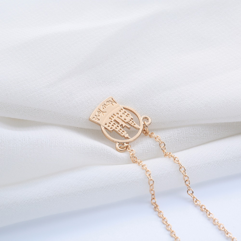 Fashion Ny Necklace Silver Gold Jewelry Snow Globe New York Necklace Pendant For Women Girlfriend Christmas Gift Necklace Chain In Chain Necklaces From