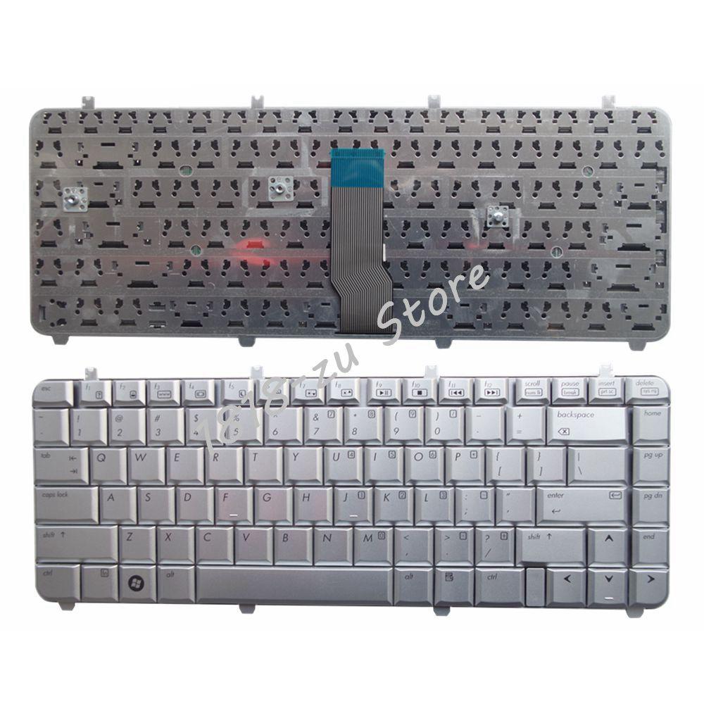 YALUZU English Laptop Keyboard For HP Pavilion DV5-1000 DV5-1100 DV5-1200 DV5-1218 1219 1218TX 1219TX AEQT6700210 QT6A Silver US