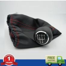 Nuevo 5 Speed Gear Shift Knob Con Bota De Cuero Con Línea Roja Para VW Golf 3 MK3 92-98/T4 91-04/Vento 92-98/1H0711141A + 1H0711115A