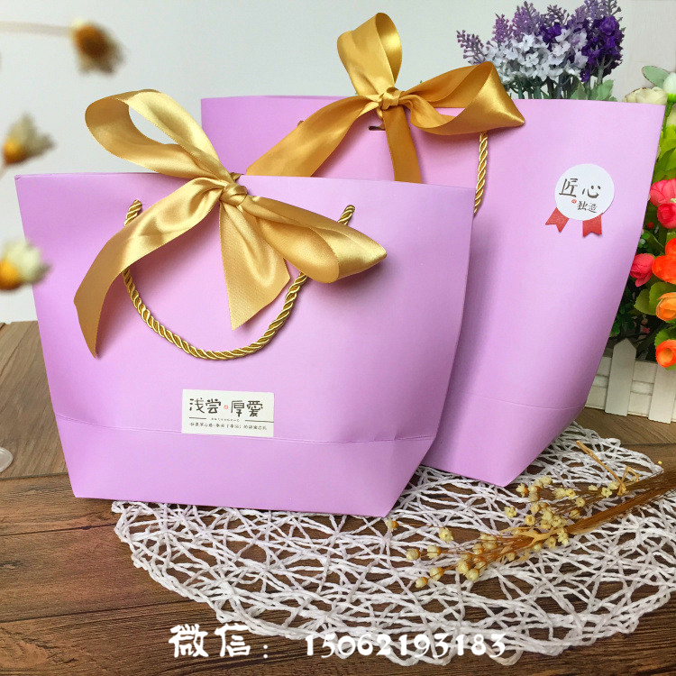 New Color Design High End Gift Bags With Handles Ribbon Wedding