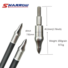 Sharrow 10 Pieces Archery 150 Grain Target Arrowhead Stainless Steel Broadhead Shooting Hunting Arrow Accessory