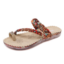 2019 Summer Girl Female Slippers Rhinestones Toe Large Size Slippers Beach Shoes Braided Rope Soft Sole Flat Sandals