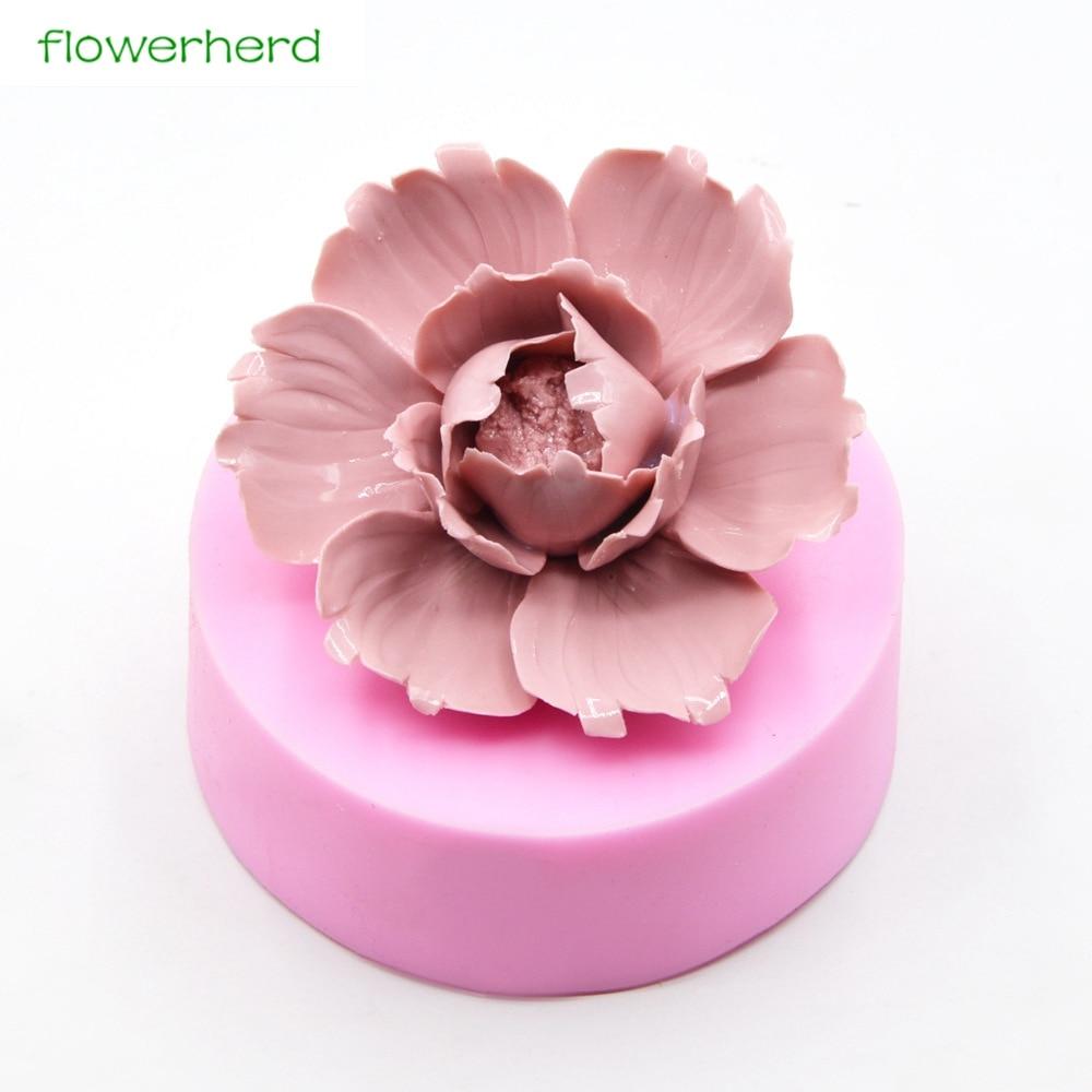 Gran tamaño de silicona jabón molde flor 3D jabón molde Plamt hecho a mano fragancia jabón Fondant pastel herramientas de decoración de molde de silicona