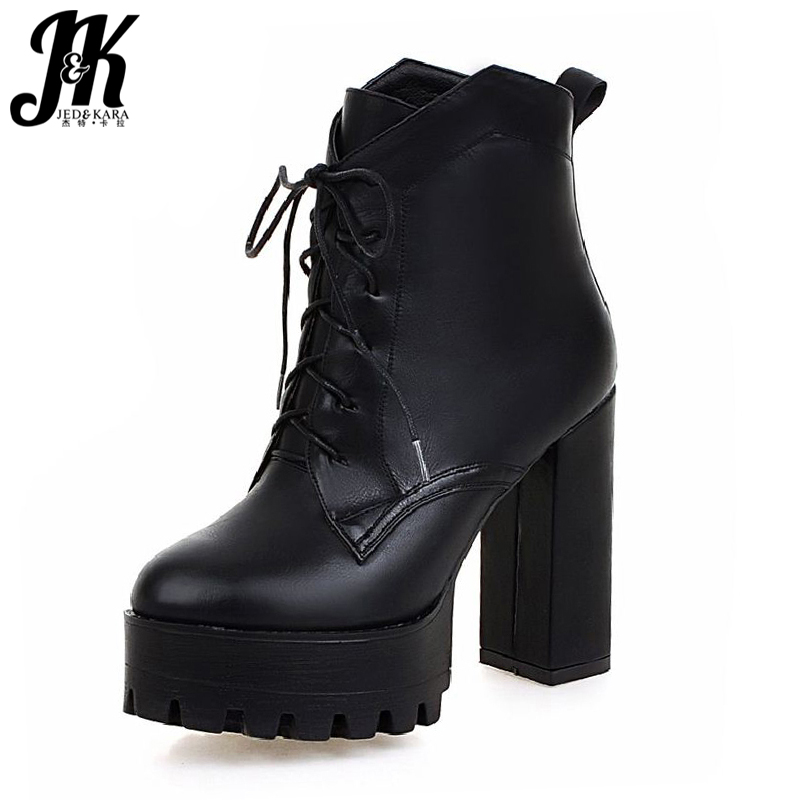 Size 34-42 High Quality Short Boots Add Fur Platform Winter Shoes Woman 2016 Fashion Thick High Heels Lace Up Shoes for Women high quality lace up nubuck short boots women thick high heels platform shoes woman with fur skid proof fall winter suede boots