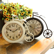 Industry Style Wrought Iron Creative Bicycle Desk Clock European do old bracket wall clocks Home Decoration