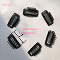 100pcs Wig Hair Clips 32mm Snap Clips for Hair Extension I Shape Wig Clips   tool  9 Teeth Hair Extension Clips Black Color