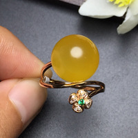 Amber Ring Fine Jewelry Real 18K Rose Gold AU750 100% Natural Amber Gemstone Female Rings for Women Fine Ring