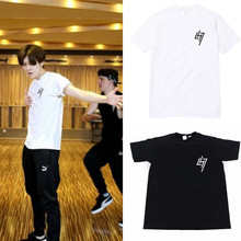 Kpop exo лухан перезапустить одежда футболка альбом любителей футболку свободные всех мужчин и женщин костюм футболки k-pop поп clothing