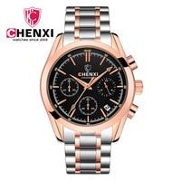 CHENXI Top Brand Man Watch Gold Calendar Hour Business Male Gift Steel Strap Wristwatch Luxury Chronograph