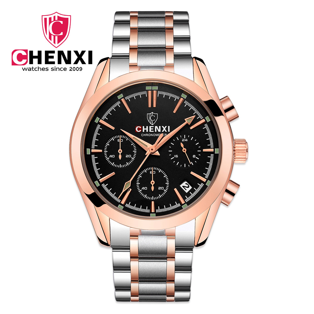 CHENXI Top Brand Man Watch Gold Calendar Hour Business Male Gift Steel Strap Wristwatch Luxury Chronograph Quartz Watches NATATE chenxi gold quartz watch men top brand luxury wristwatch famous fashion steel strap hand watches business male gift clock natate
