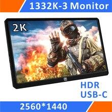 "13.3 ""2 k 해상도 hdr 휴대용 게임 모니터 1440 p ps3 ps4 xbox 자동차 디스플레이 미니 pc (1332k 3) 에 대 한 usb c/hdmi 입력"