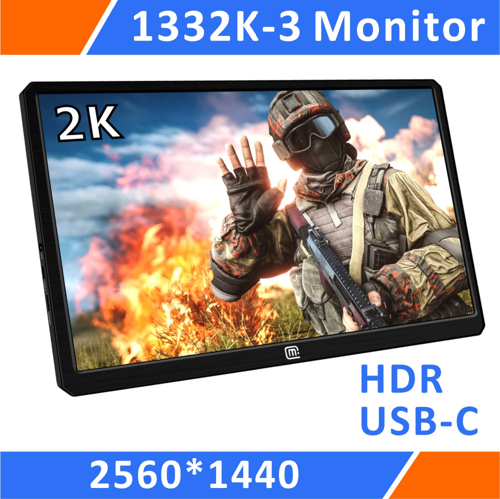 13.3'' 2K Resolution HDR Portable Gaming Monitor 1440P With USB C/Hdmi Input For For PS3 PS4 XBOX Car Display Mini PC(1332K-3)