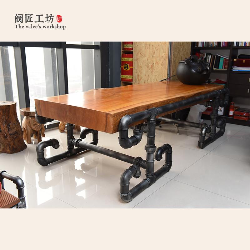 American Presidentu0027s Solid Wood Table Made Of Pipe And Valve Loft  Industrial Vintage Pipe Boss Table Conference Tables J004 In Library  Furniture From ...