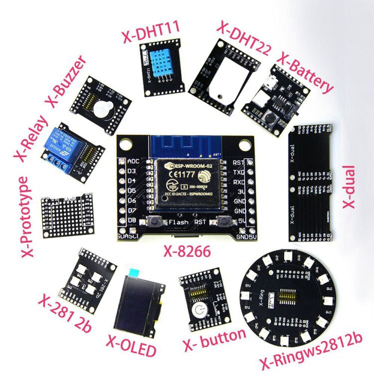 X-Series Suit=X-8266 ESP-WROOM-02/ ESP32 WiFi Bluetooth Module and X-(dual DHT11 OLED 2812b Battery button...) 1pcs oficial doit esp wroom 32 esp32 esp 32s bluetooth e wi fi dual core cpu com baixo consumo de energia mcu esp