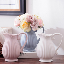 цена на Creative Ceramic vase white/blue Handle Porcelain flower vase centerpieces for weddings vases room nordic decoration home
