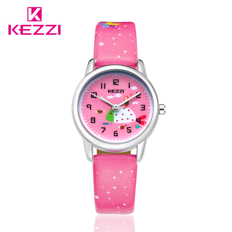 KEZZI Children Watch Boys girls Sweet Cartoon Watches kids student Leather starp Sport waterproof wrist Watch montre enfant