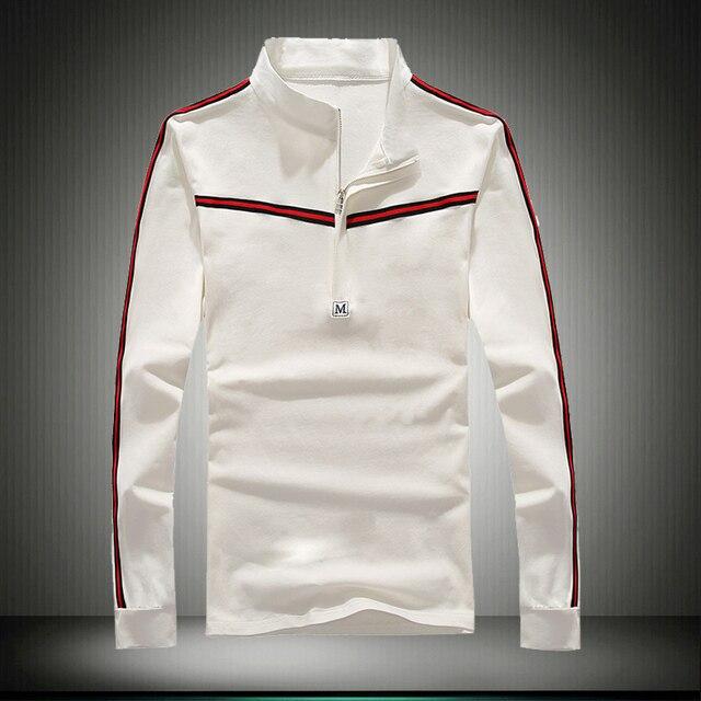2016 мужская марка новая Мода color matching с длинным рукавом рубашки ПОЛО/Весна высокого класса slim fit досуг твердые рубашки поло