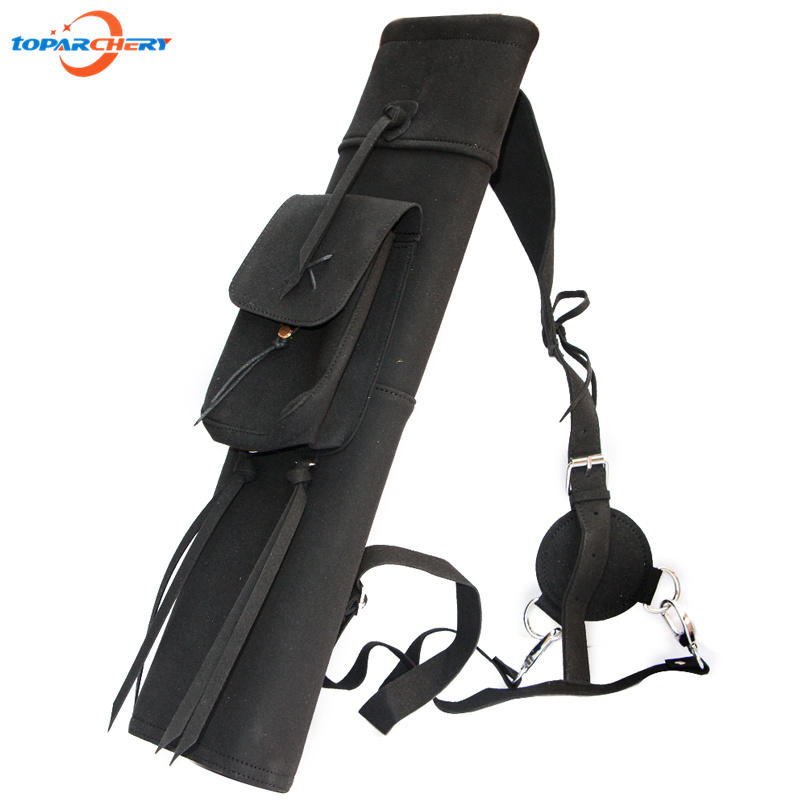 Cow Leather Archery Arrow Quiver for Hunting Shooting Accessories Bow & Arrow Adjusted Belt Shoulder Hanging Arrow Holder Bag dmar archery quiver recurve bow bag arrow holder black high class portable hunting achery accessories