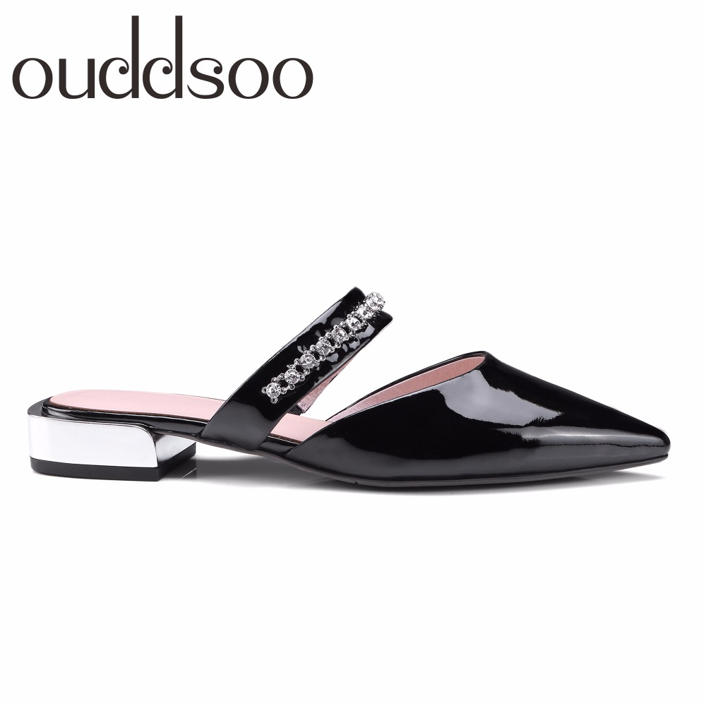 2018 Genuine Leather Women Pointed Toe Slippers Mules Sandals Woman Flats Leather Mules Mujer Crystal Flip Flops Slides Shoes flats slippers suede pink sandals mary jane genuine leather pointy summer slides designer shoes women luxury 2018 mules gray