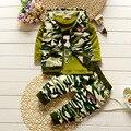 2016 Outono Roupas de Bebê de Algodão de Lazer Três-piece Set Roupas de Camuflagem das Crianças Set