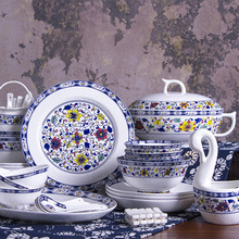 60 Pieces dinnerware set Guci High-grade Jingdezhen Ceramic Tableware Set Blue and White Gift Bone Porcelain