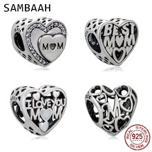 Sambaah I Love You Mom Motherly Heart Charm 925 Sterling Silver Best Mom Family Beads for Original Pandora Mother's Day Bracelet