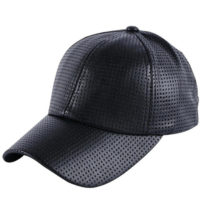 Good quality leather men women brand baseball cap brown black solid color  Breathable summer hat boy 54ac5b5897aa