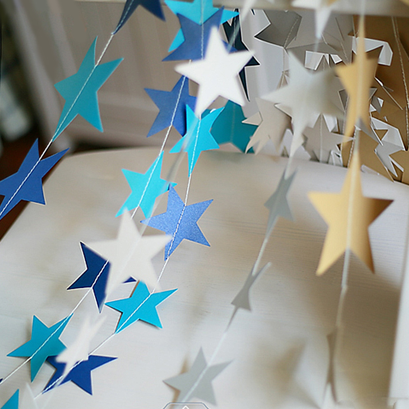 Fashion Paper Garland Strings Star Shape Wedding Bridal Hanging Decoration New