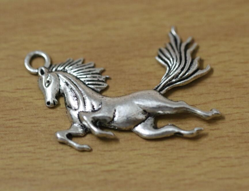 16pcs Antique Silver Tone Horse Charms Pendants for Jewelry Making DIY Handmade Craft 42x44mm