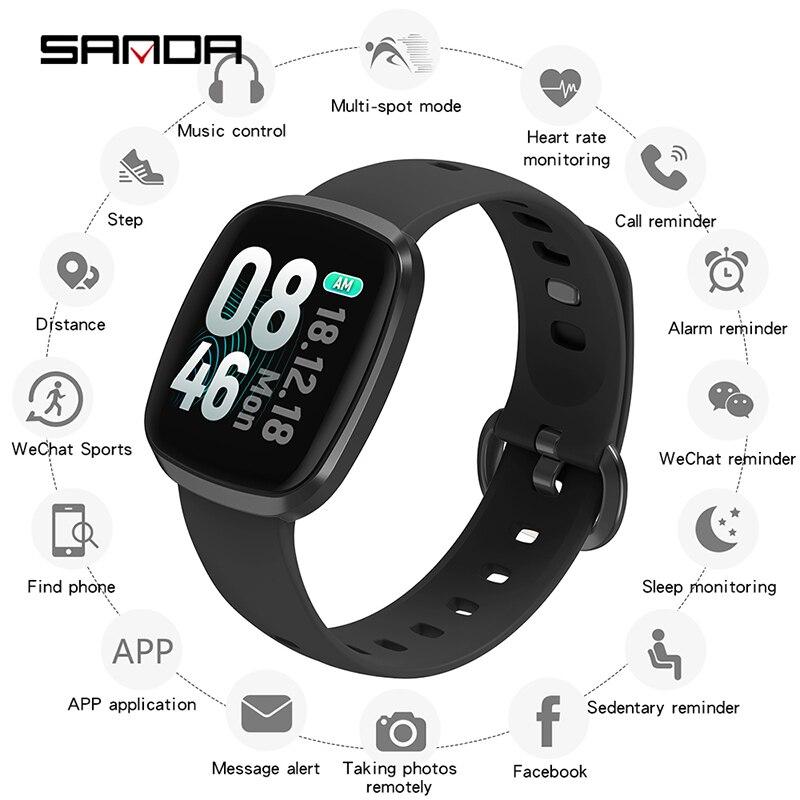 SANDA Sport Wristwatch Digital Clock Heart-Rate Smart-Blood-Pressure Waterproof Men Fashion