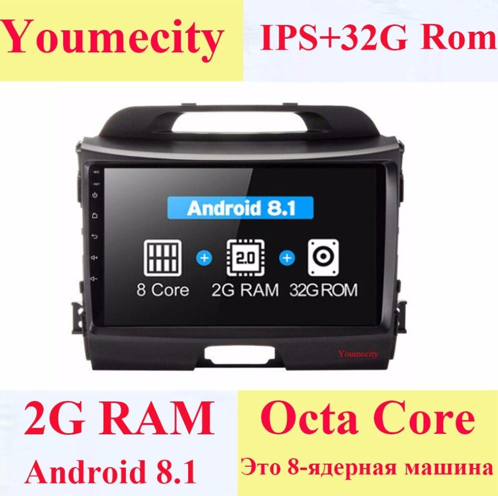 Lecteur multimédia DVD de voiture Octa Core Android 8.1 pour KIA Sportage R 2011 2008-2017 ans GPS WiFi Radio Bluetooth unité de tête