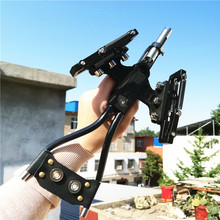 цена на Powerful Hunting Fishing Laser Slingshot stainless steel slingshot professional Catapult Strong Sling Shot with rubber band