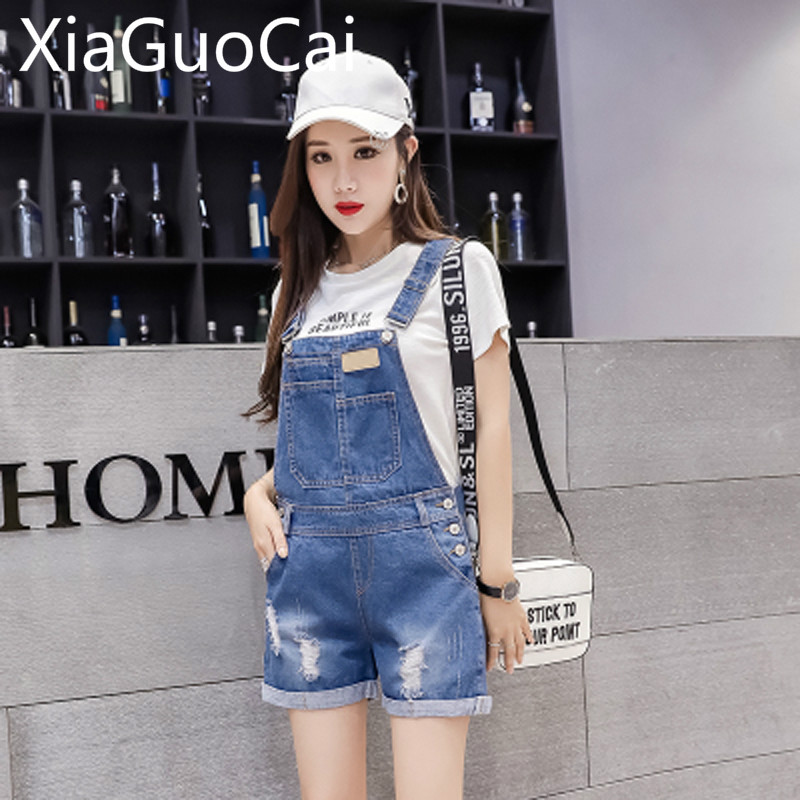 Womens Jeans Shorts 2019 Summer Loose Hot Pants Student Hole Denim Strap Shorts Female Ripped Jeans For Women