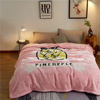 Papa&Mima pineapple Print Thick warm Throw Blankets Raschel Fabric Plaids multisize Bedsheet multifunctional bedspread