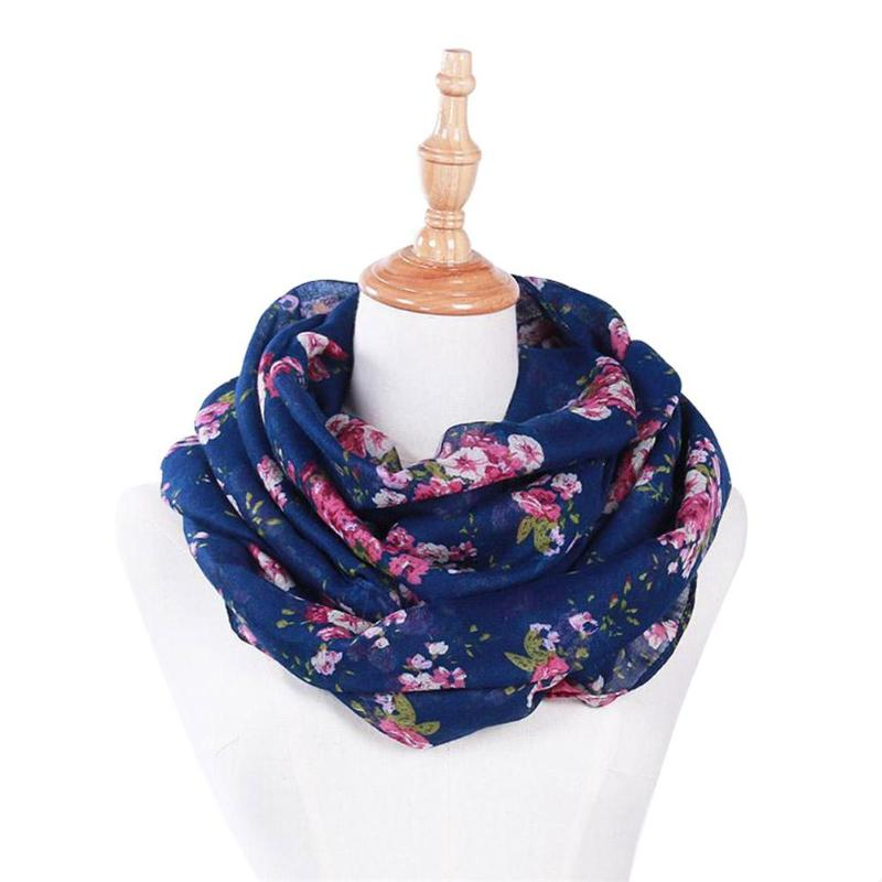 Hot Sale New Fashion Warm Women Flower Loop   Scarf   Female Small Rose Print Ring   Scarves   Shawl   Wrap