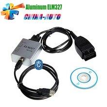 20 unids/lote Al Por Mayor ELM327 Metal de Aluminio Auto Interfaz de Diagnóstico OBD2 OBDII V1.5 CAN-BUS Escáner ELM327 USB ELM 327