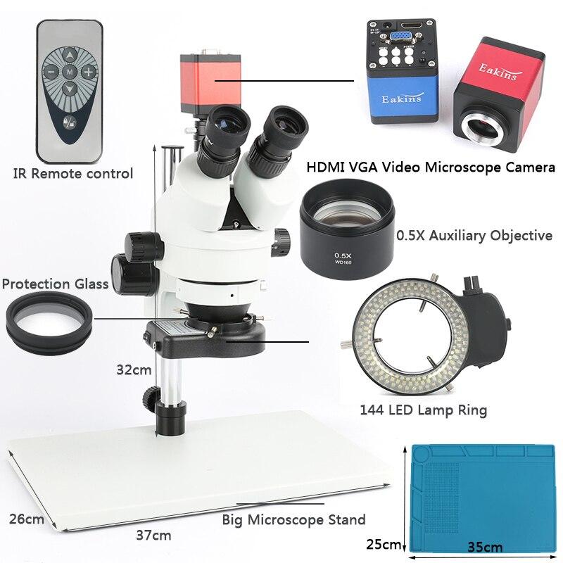 Simul Focal Stéréo Trinoculaire Microscope 3.5-45X Zoom Continu Grossissement 720 p 13mp VGA HDMI Caméra Vidéo Pour PCB à souder