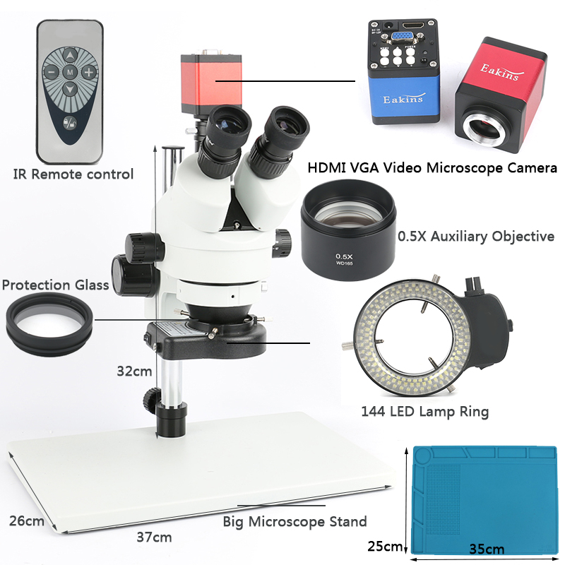 Simul Focal Trinocular Stereo Microscope 3.5-45X Continuous Zoom Magnification 720P 13mp VGA HDMI Video Camera For PCB Soldering