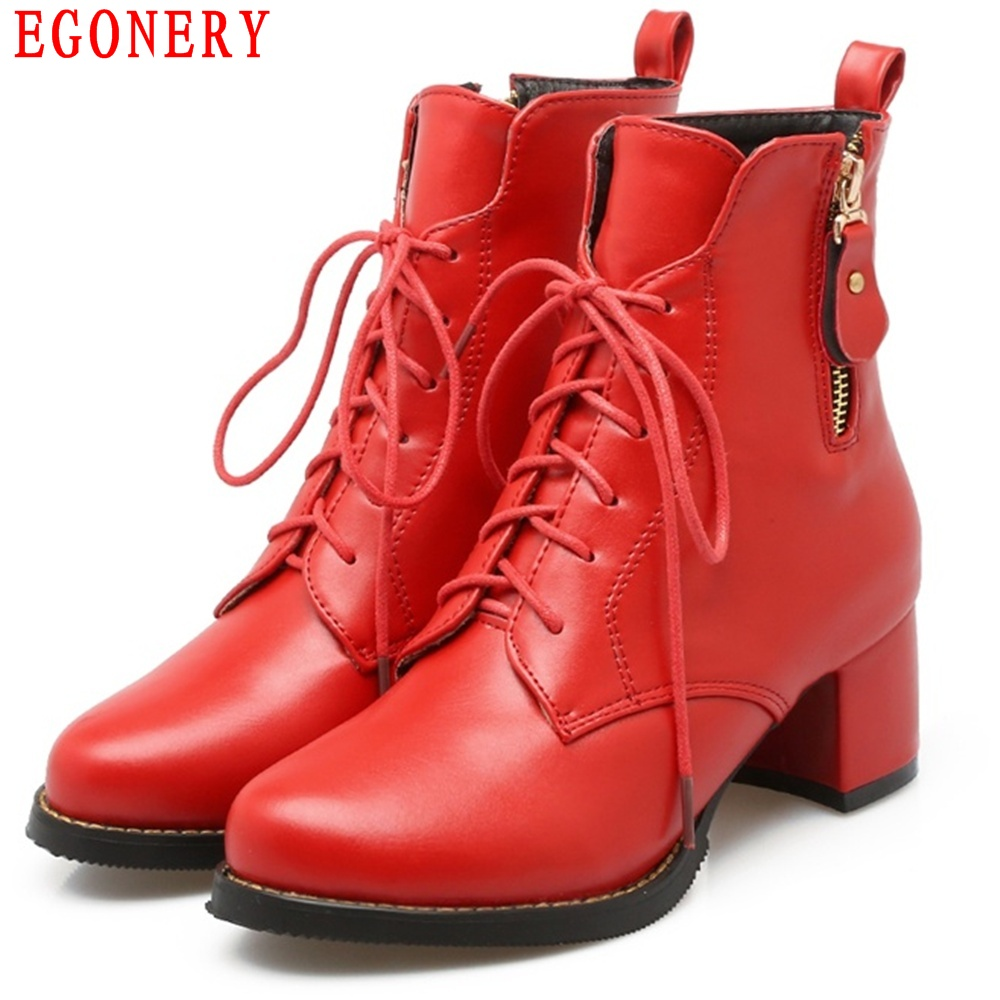 EGONERY Casual Thick Heels Lace Up Zipper Vintage Womens shoe Riding Boots Autumn Spring Lady Ankle Boot Bigger Size 43 egonery quality pointed toe ankle thick high heels womens boots spring autumn suede nubuck zipper ladies shoes plus size